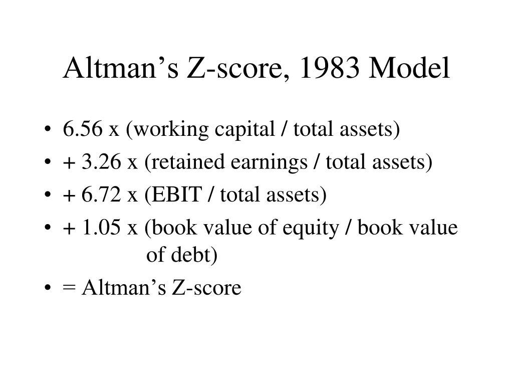 Altman's Z-score, 1983 Model