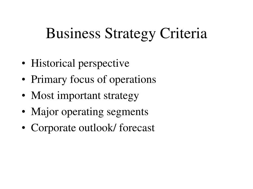 Business Strategy Criteria