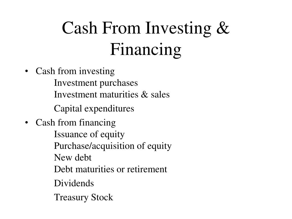 Cash From Investing & Financing