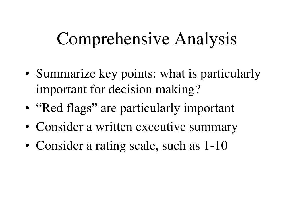 Comprehensive Analysis