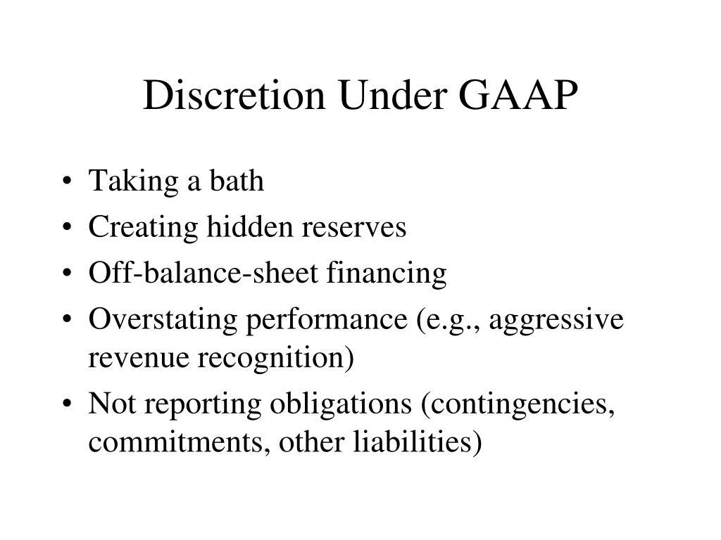 Discretion Under GAAP