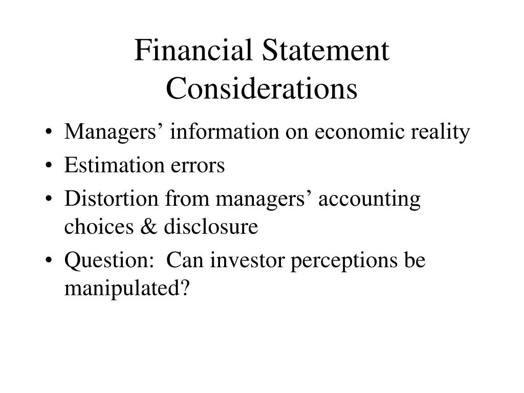 Financial Statement Considerations