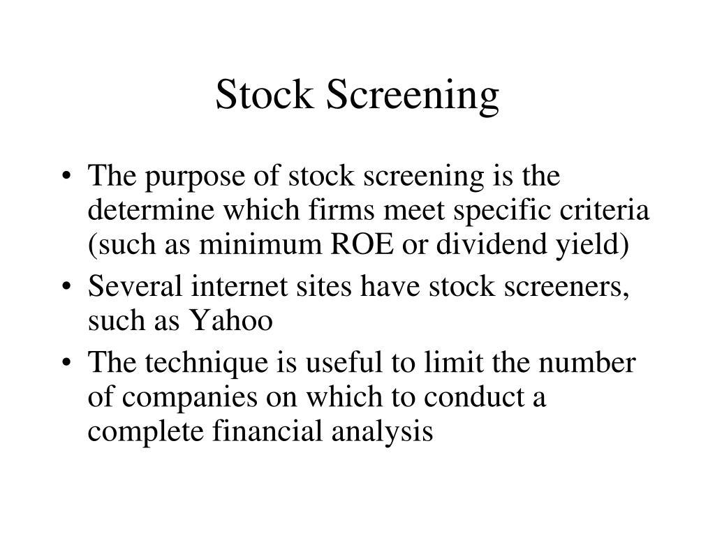 Stock Screening