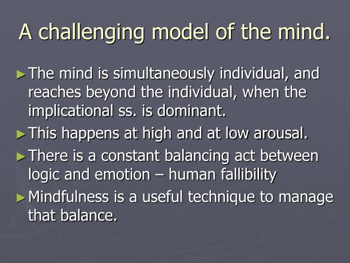 A challenging model of the mind.
