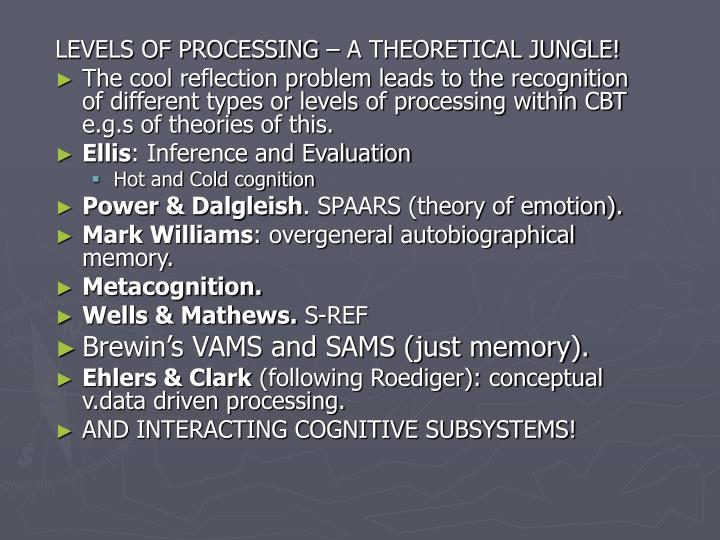 LEVELS OF PROCESSING – A THEORETICAL JUNGLE!