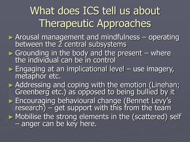 What does ICS tell us about Therapeutic Approaches