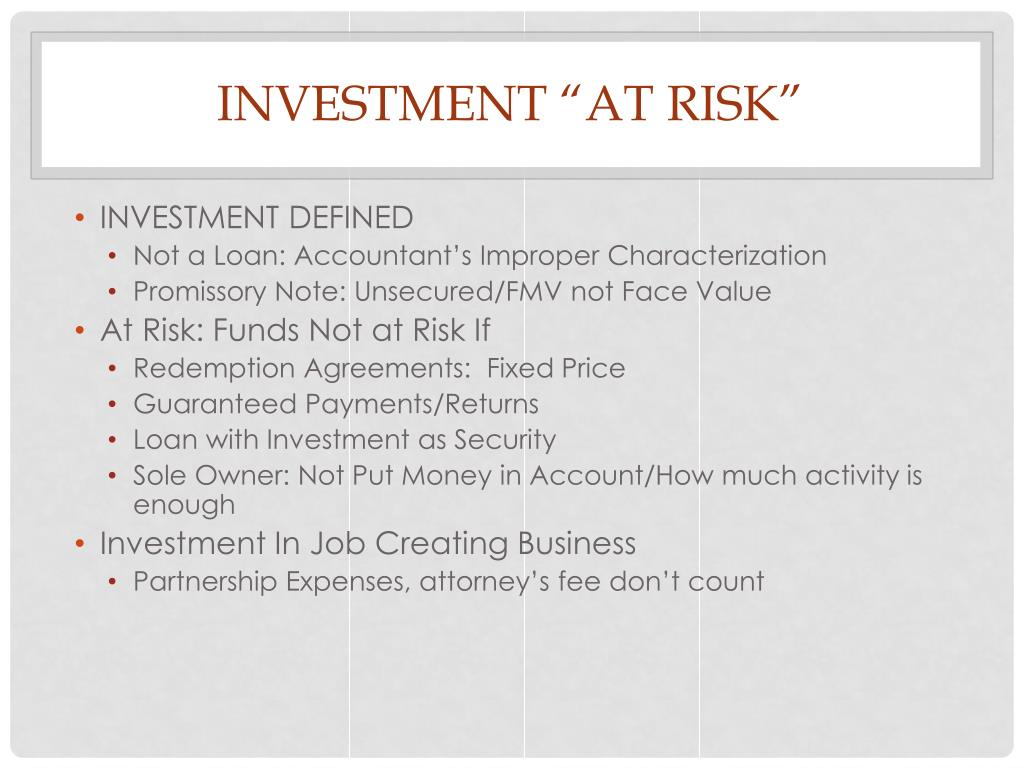 """INVESTMENT """"AT RISK"""""""