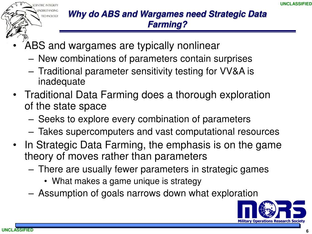 Why do ABS and Wargames need Strategic Data Farming?