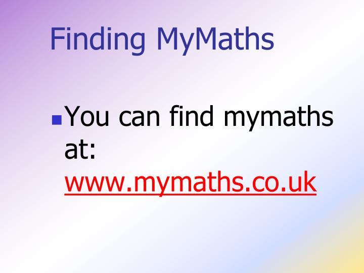 Finding MyMaths