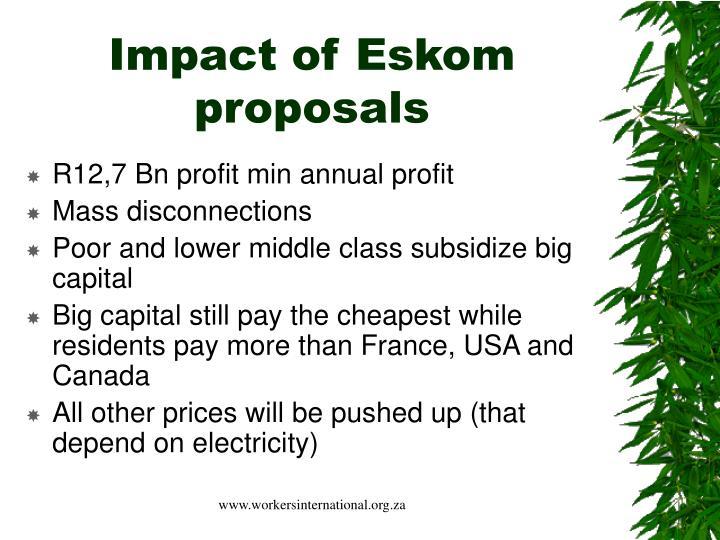Impact of Eskom proposals