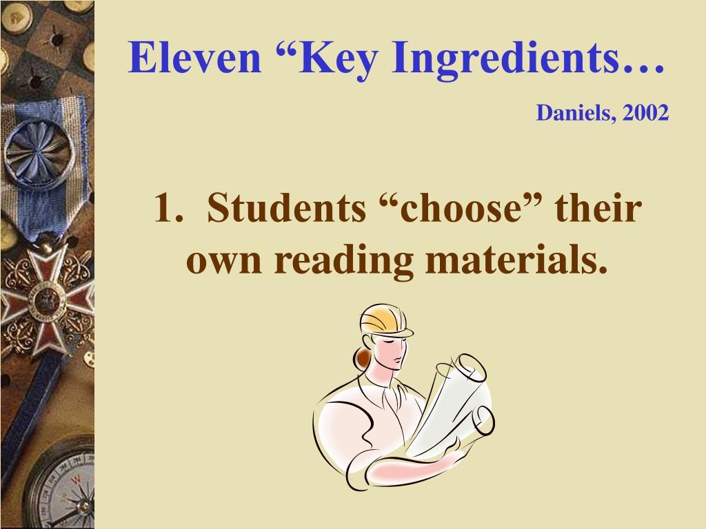 "Eleven ""Key Ingredients…"