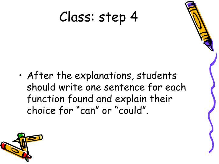 Class: step 4