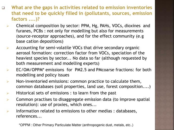 What are the gaps in activities related to emission inventories that need to be quickly filled in (pollutants, sources, emission factors ....)?