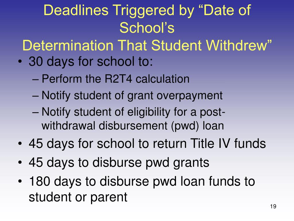 """Deadlines Triggered by """"Date of School's"""
