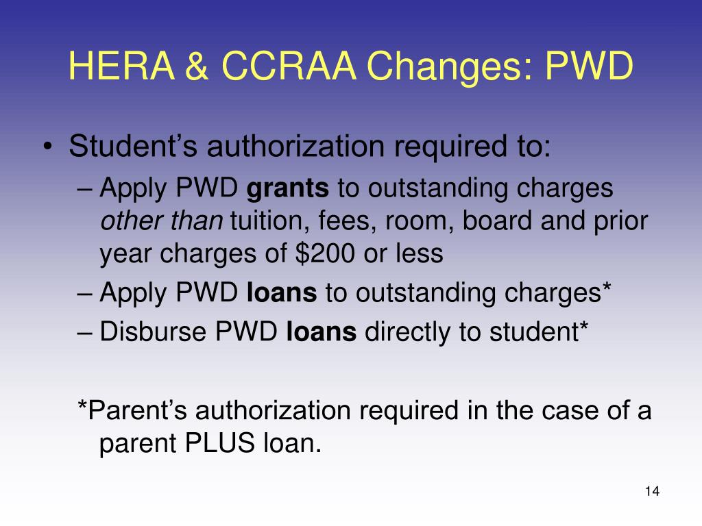 HERA & CCRAA Changes: PWD