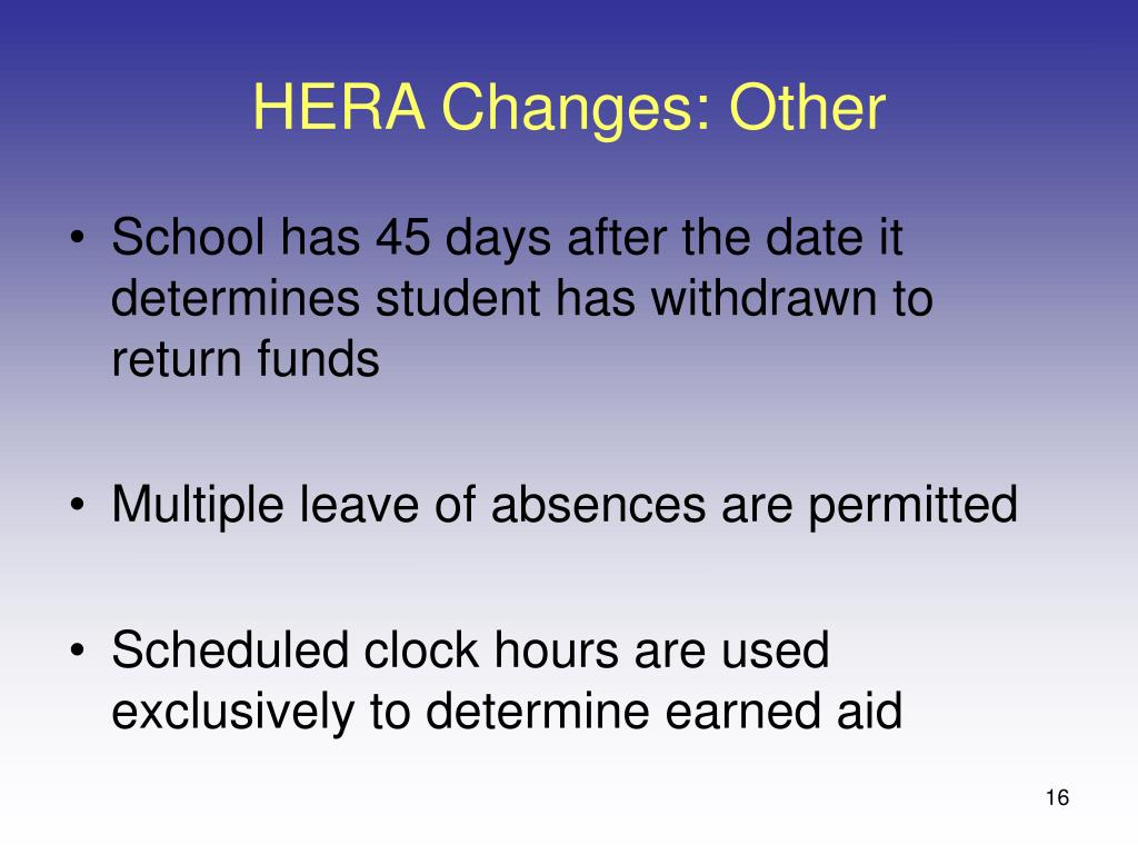 HERA Changes: Other
