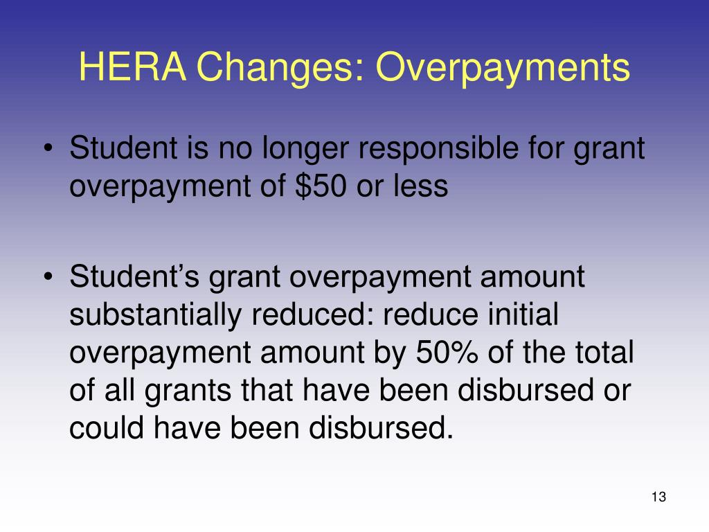 HERA Changes: Overpayments
