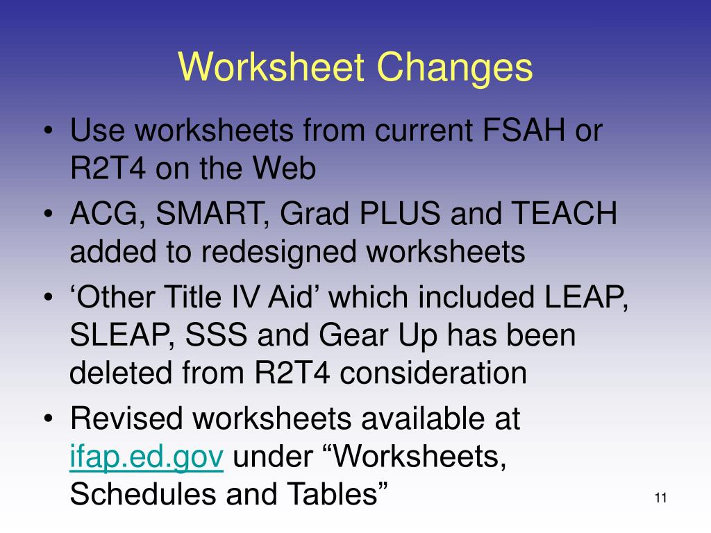 Worksheet Changes