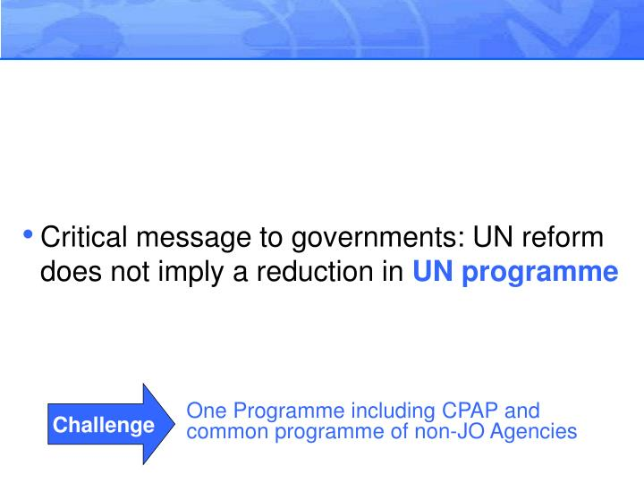 Critical message to governments: