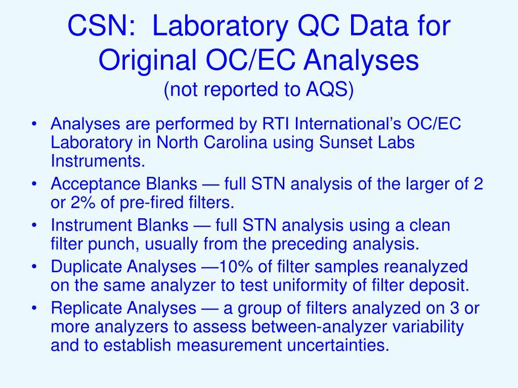 CSN:  Laboratory QC Data for Original OC/EC Analyses