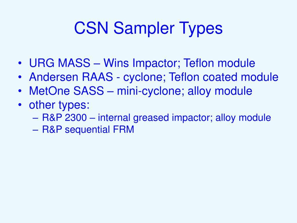CSN Sampler Types