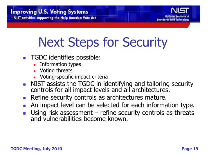 Next Steps for Security
