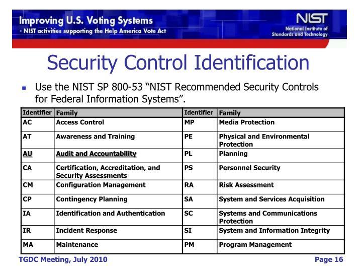Security Control Identification