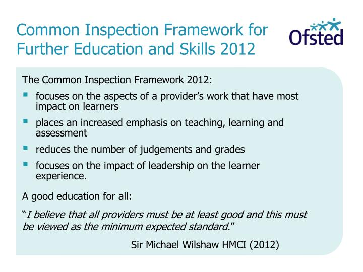 Common Inspection Framework for