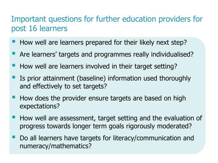 Important questions for further education providers for post 16 learners