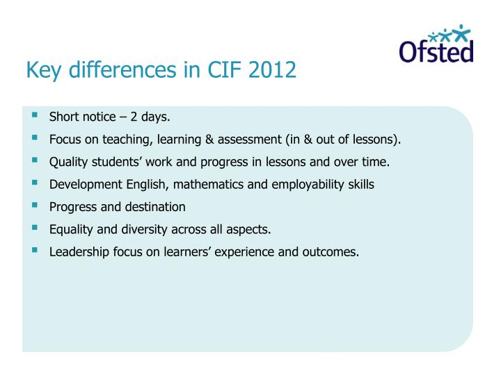 Key differences in CIF 2012