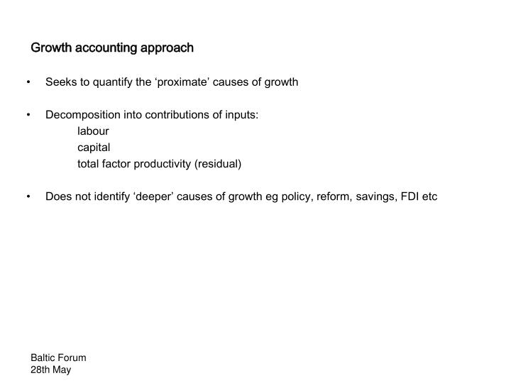 Growth accounting approach