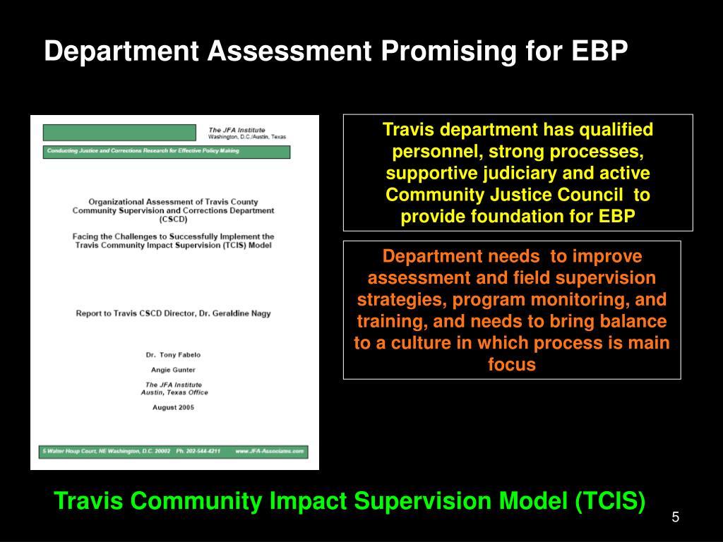Department Assessment Promising for EBP