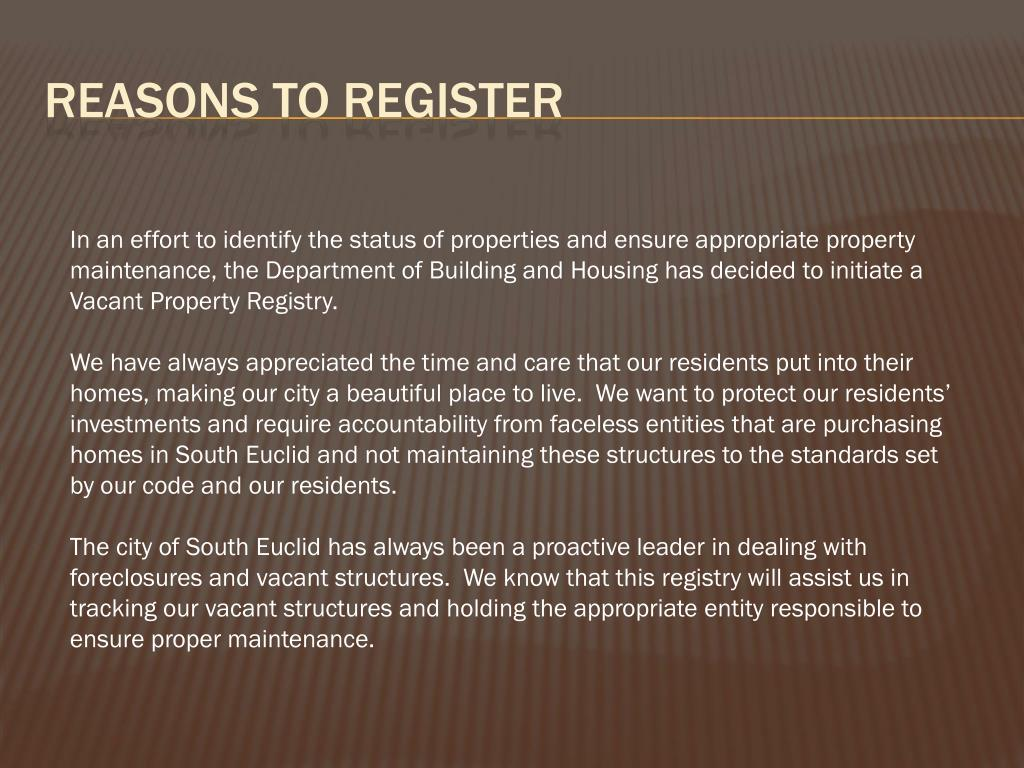 Reasons to register