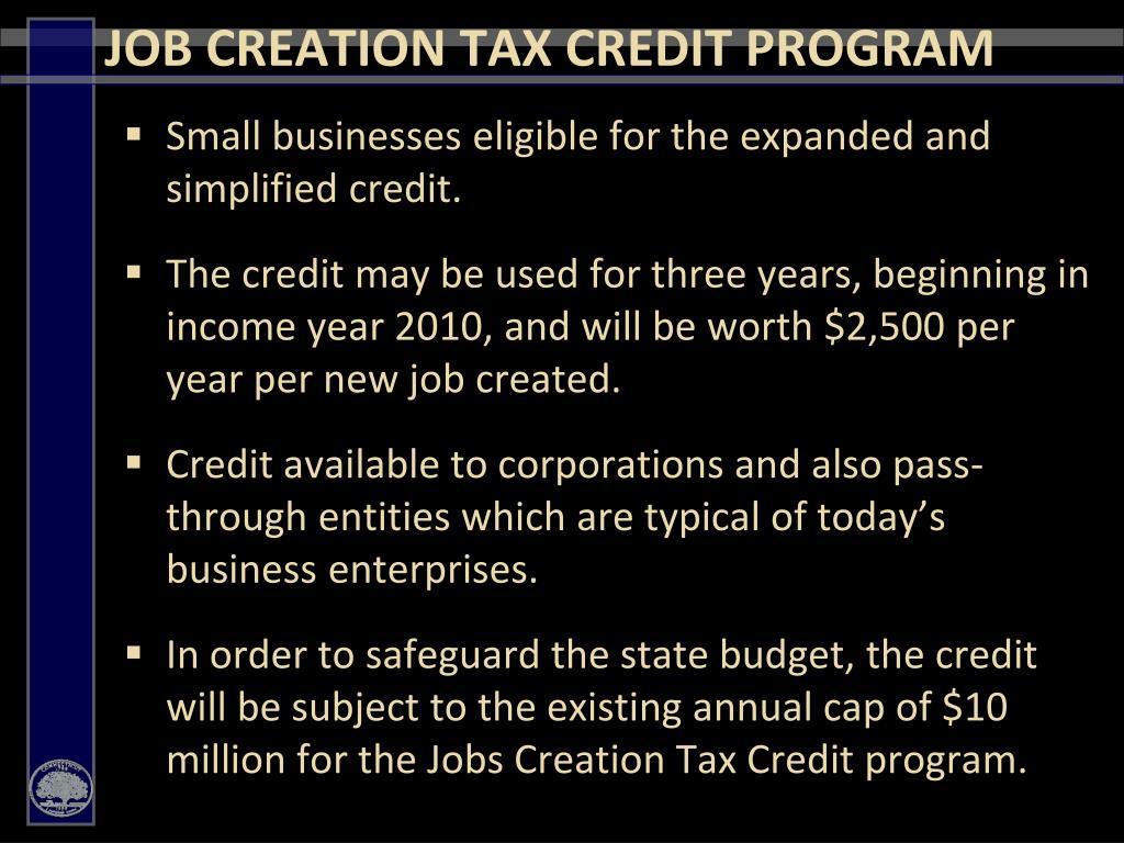 JOB CREATION TAX CREDIT PROGRAM
