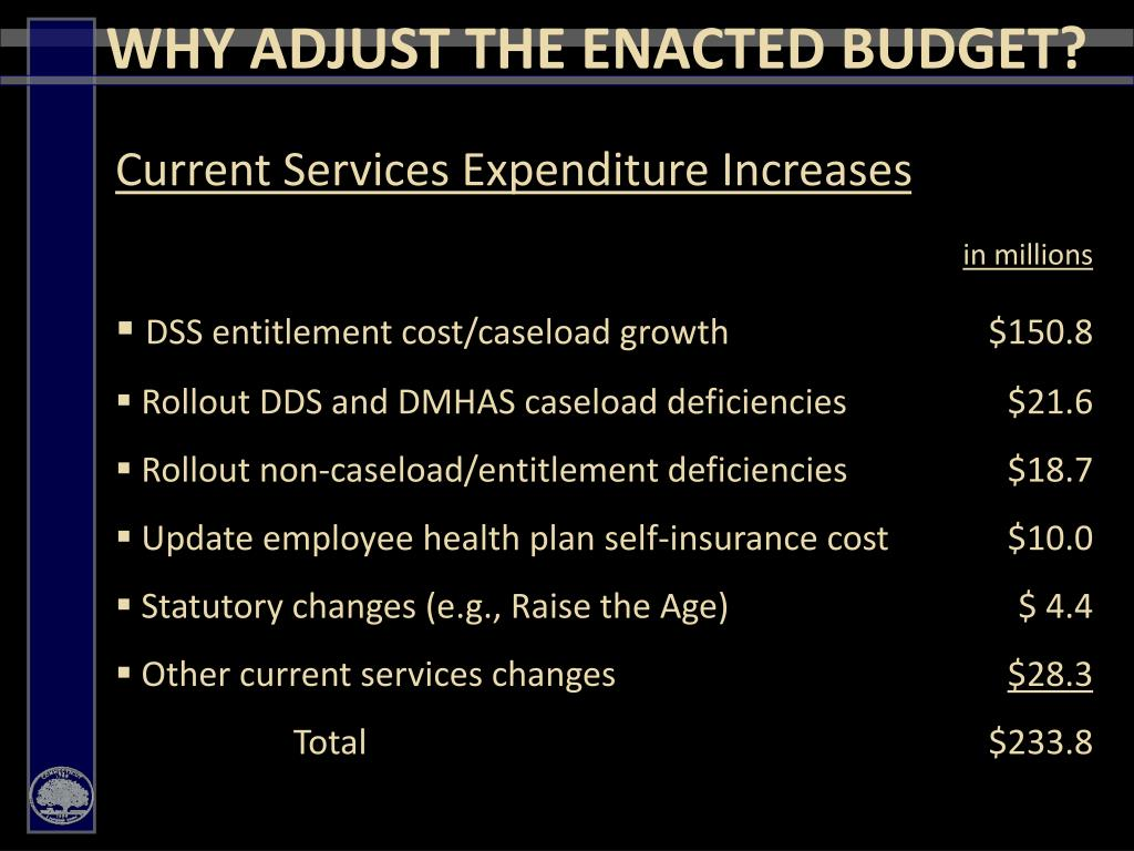 WHY ADJUST THE ENACTED BUDGET?