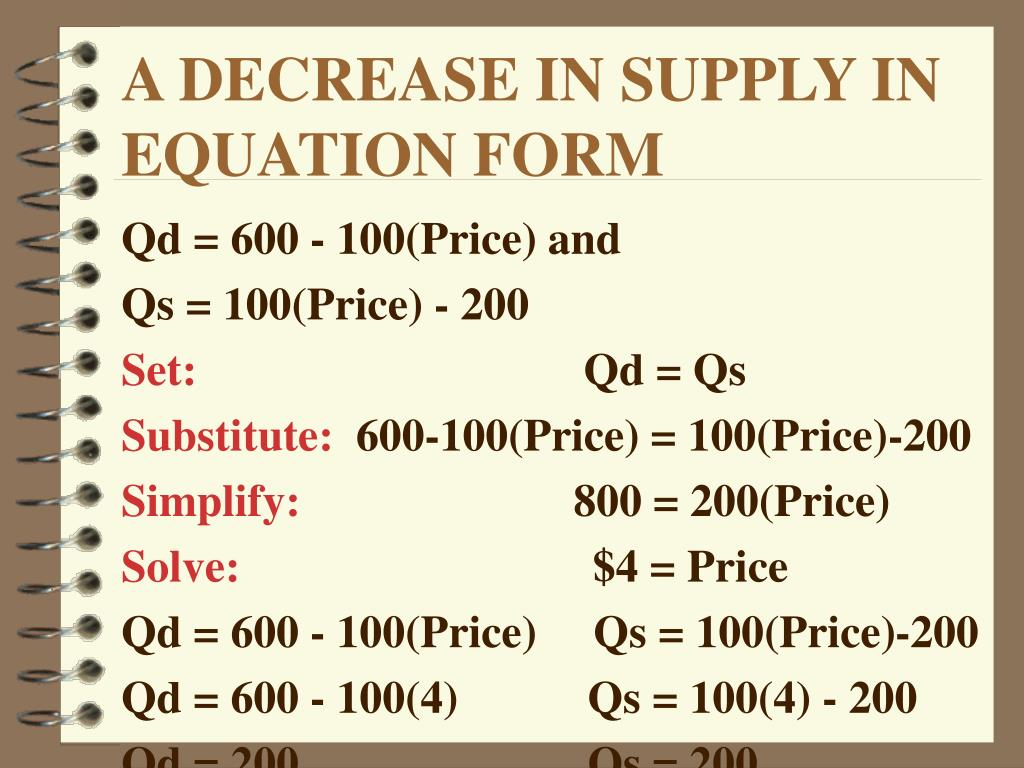 A DECREASE IN SUPPLY IN EQUATION FORM