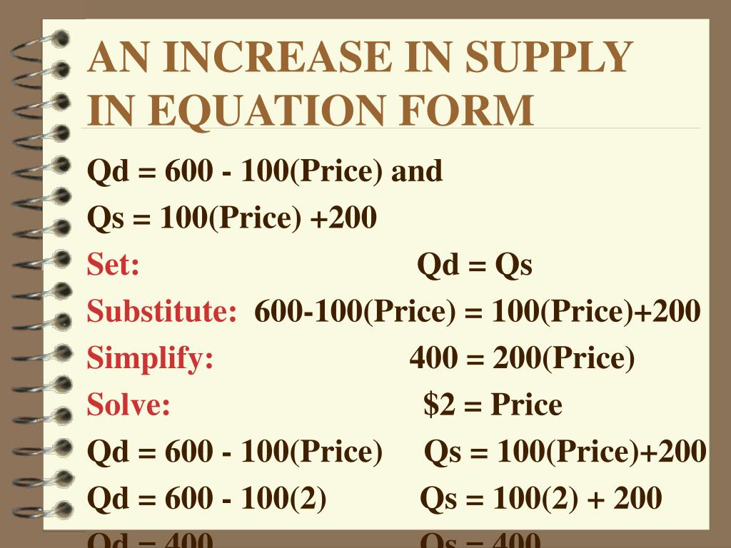 AN INCREASE IN SUPPLY IN EQUATION FORM