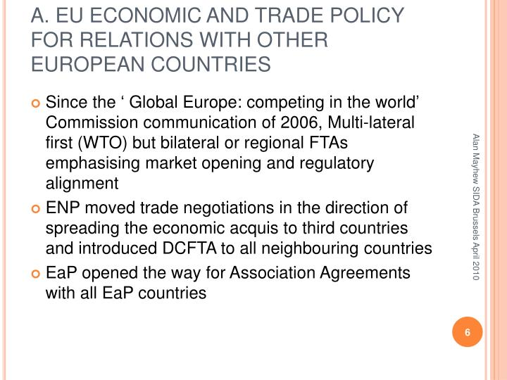 A. EU ECONOMIC AND TRADE POLICY FOR RELATIONS WITH OTHER EUROPEAN COUNTRIES