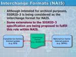 interchange formats nais