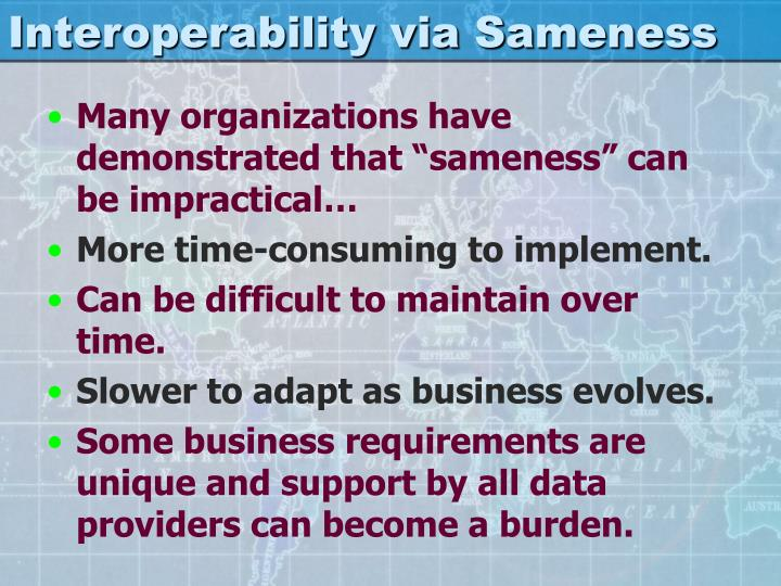 Interoperability via Sameness
