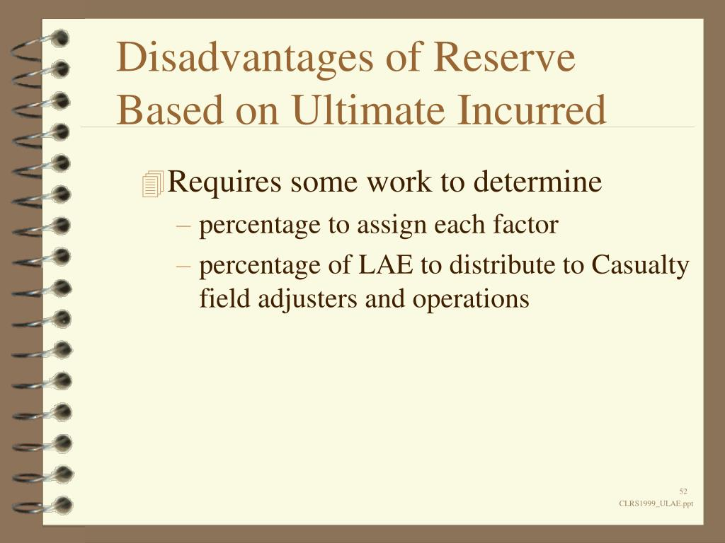 Disadvantages of Reserve Based on Ultimate Incurred