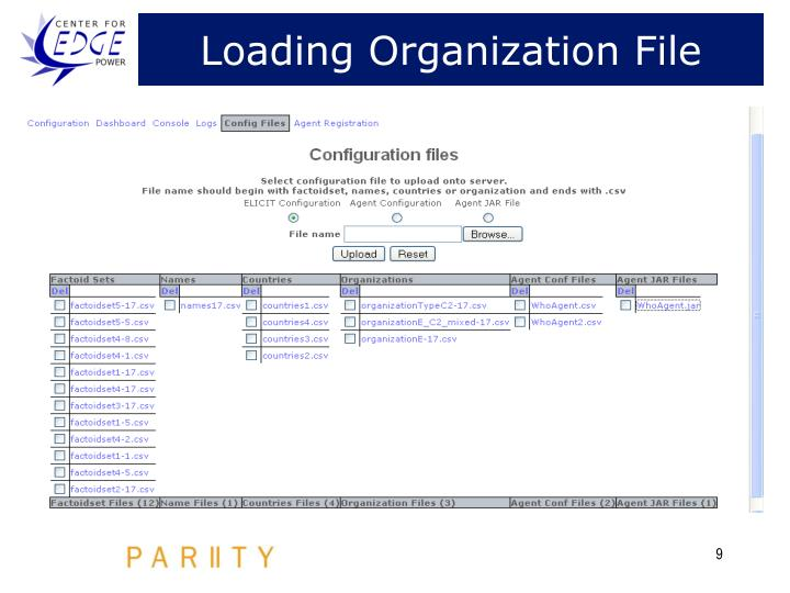 Loading Organization File