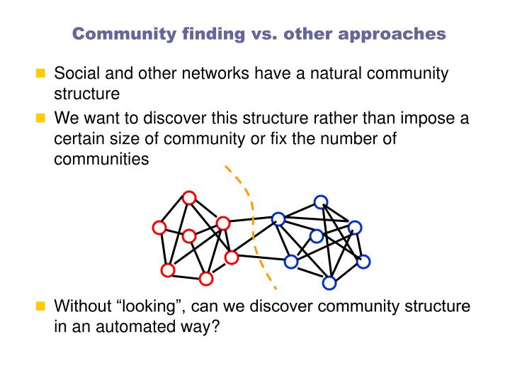 Community finding vs. other approaches
