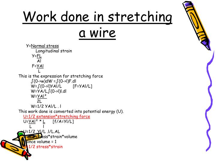 Work done in stretching a wire