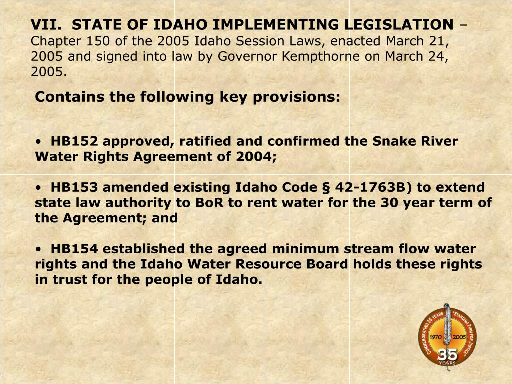 VII.  STATE OF IDAHO IMPLEMENTING LEGISLATION