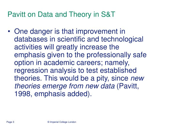 Pavitt on Data and Theory in S&T