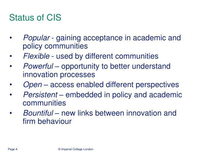 Status of CIS