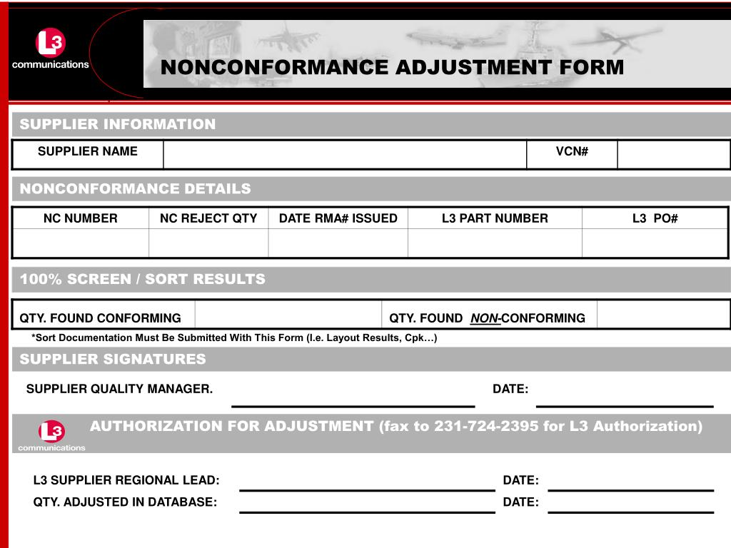 NONCONFORMANCE ADJUSTMENT FORM