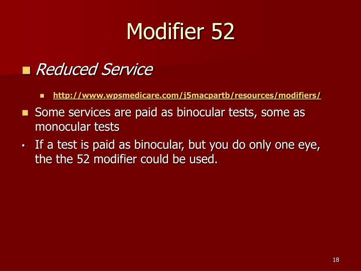 Modifier 52