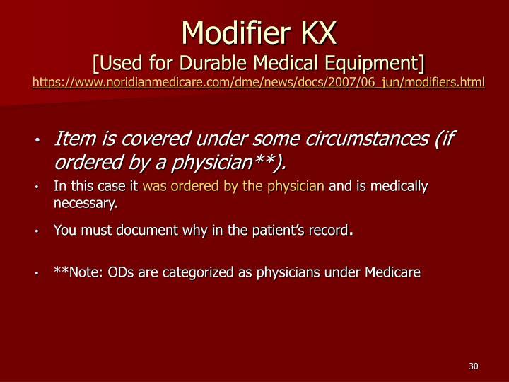 Modifier KX